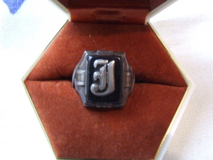Ring:  Mans Sterling Onyx 'J'  Monogram