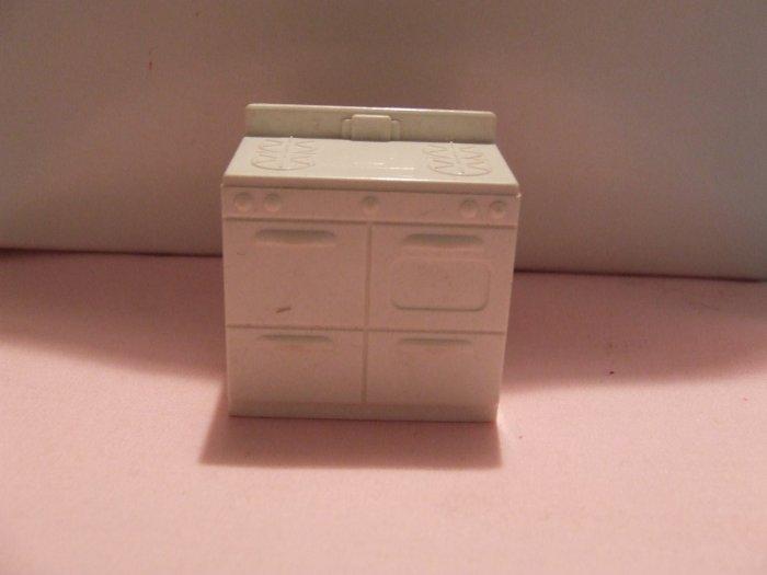 Dollhouse Furniture Molded white plastic kitchen stove marked MARX