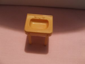 Dollhouse Furniture Molded gold plastic bathroom sink  marked MARX