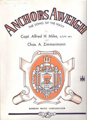 """Sheet Music """"ANCHORS AWEIGH"""" Navy"""