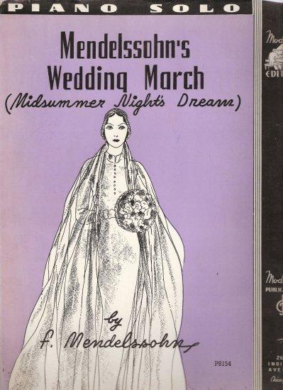 """Sheet Music """"Mendelssohn's Wedding March (Midsummer Night's Dream)"""