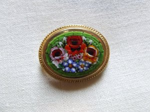 Brooch Mosaic Floral Italy Green Background