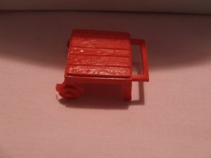 Dollhouse Furniture Molded red plastic patio cart   $4.10 shipping included