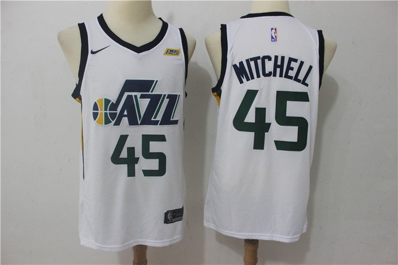 hot sale online 21659 e7fc2 Men's Utah Jazz Donovan Mitchell #45 White Swingman Jersey