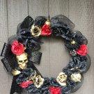 Halloween Skull Goth Wreath