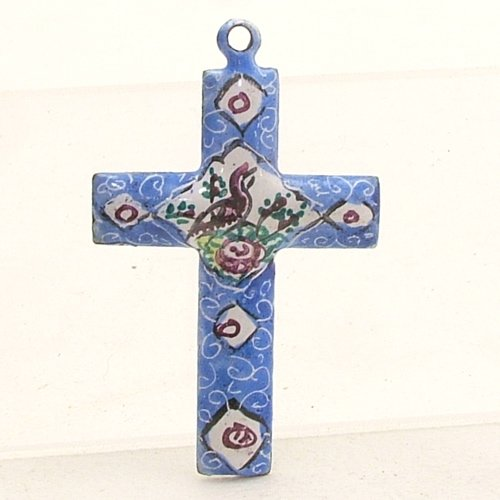 Mina Kari Blue Persian Enamel Cross Hand Painted