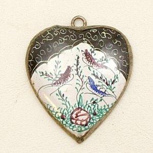 Mina Kari Black Persian Enamel Heart Bird Pendant