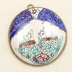 Mina Kari Blue Persian Enamel Round Deer Pendant