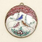 Mina Kari Brown Persian Enamel Round Bird Pendant