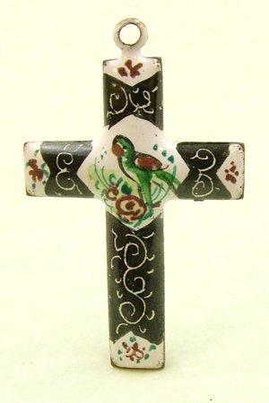Mina Kari Persian Enamel Cross with Bird