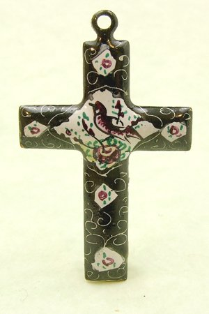 Mina Kari Black and White Persian Enamel Cross