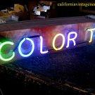 Vintage 1970's COLOR T.V. Hanging Neon * Antique wood Sign