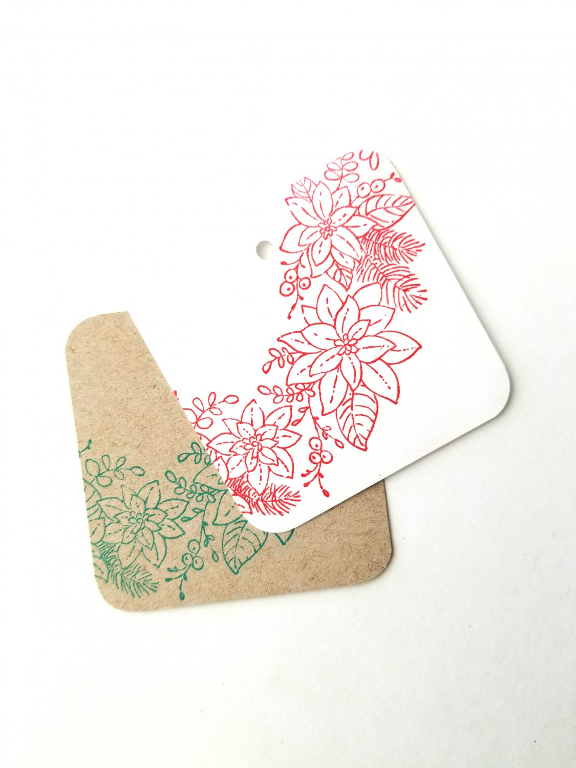 Christmas Holiday Handmade Gift Tags Favor Treat Tags Classy Vintage Rustic Floral Tag Set of 10