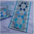 Hand Painted Silk Tallis, Kippah & Bag Set Galillee Silk in Israel Star of David