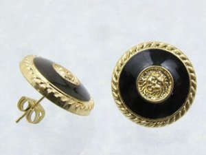 Black/Gold Button Earrings Pierced NEW!