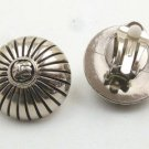 Silvertone/Black Clip Earrings