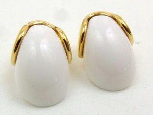 White/Goldtone Huggies Pierced