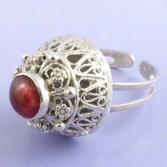 Sterling Silver Carnelian Ring - REUVEN