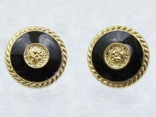 Black & Gold Button Earrings