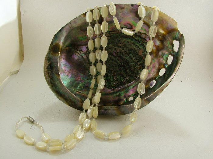 """Genuine MOP Oval Beaded Necklace 43"""""""