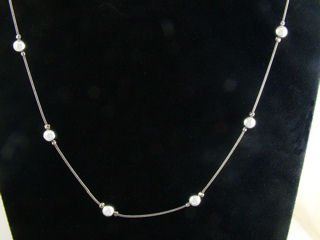 "Sterling Bead Necklace, 16""  Hallmark: Italy"
