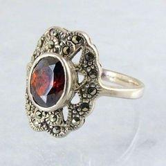Genuine Garnet & Marcasite Ring  Sz 8