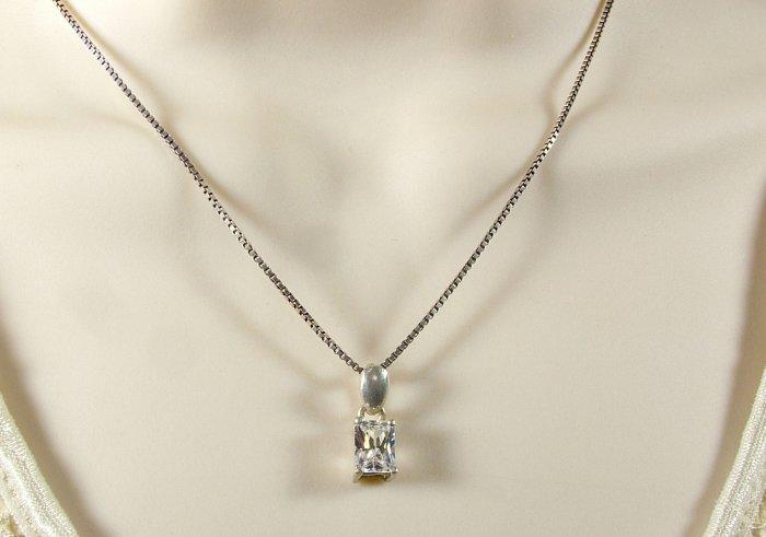 Emerald Cut CZ w/Sterling Silver Chain