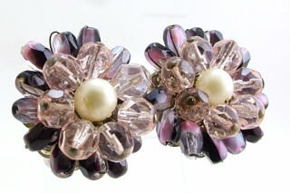 Vintage Glass Bead & Faux Pearl Earrings