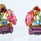 Multi-colored Rhinestone Earrings  pre-WW2