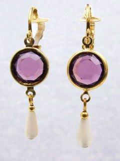 Purple Glass & MOP Dangle Earrings  Clip