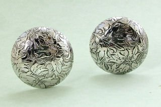 Etched Silvertone Clip Earrings