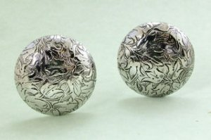 Etched Silvertone Clip Earrings