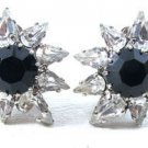 Black Rhinestone Earrings-Vintage