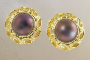 Circa 1950 Burgundy Glass Earrings