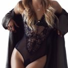 Black Sheer Mesh Lace Cupped Teddy Lingerie Item No. : LC32077-2