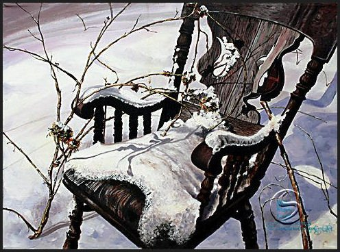 Weathered Rocking Chair Seasonal Winter Art Prints Wall Hanging Home Decorating Posters