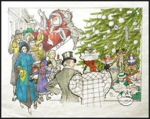 A Christmas Scene Holidays Seasonal Gallery Art Print Decorating Posters