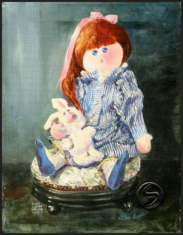 Blue Eyes Doll Toy Gallery Art 5 Glossy Note Cards