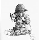 "Baby In A Ball Cap Children Art Print Child Home Decorating 12""x16"""