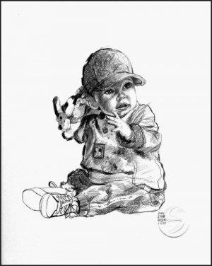 "Baby In A Ball Cap Children Art Print Child Home Decorating 12""x16"""