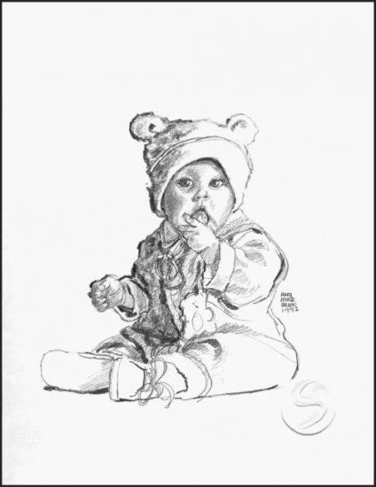 "Baby In A Hat With Ears Children Gallery Art Print Child Decor 12""x16"" Posters"