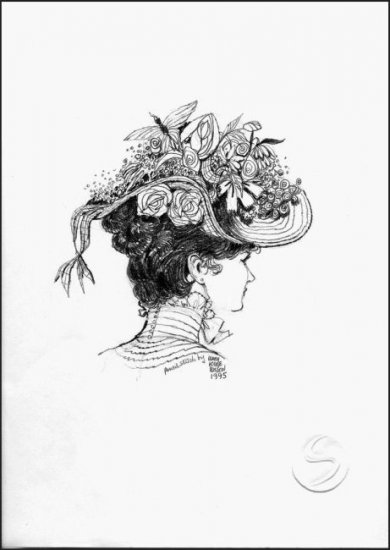 "Woman In A Flower Hat Contemporary Gallery Art Prints Home Decorating 12""x16"""