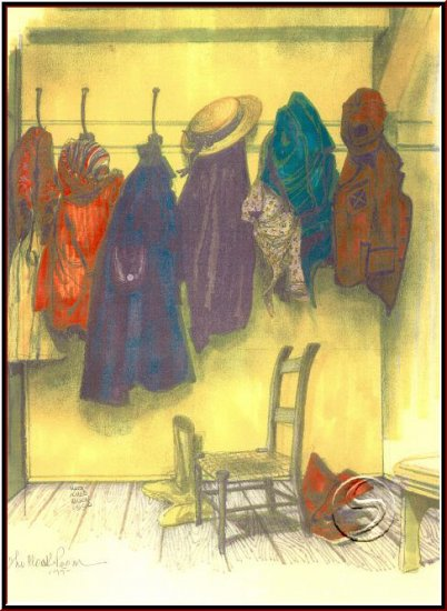 "The Cloak Room Still Life Gallery Art 1990 Watercolor 16""x20"" Poster"