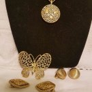 vintage sarah coventry lot Necklace Brooch 2 pair of earrings