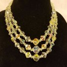 vintage aurora borealis necklace 18 inch triple  strand heavy my favorite