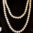PEARL NECKLACE 36 INCHES 14K CLASP  STUNNING GOOD SIZE PEARLS