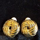 Vintage Les Bernard gold tone clip on earrings large and classy design