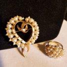 VINTAGE 1950'S CROWN TRIFARI GOLD TONE RHINESTONE HEART BROOCH & COVENTY RING