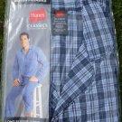 NEW Hanes Men's Pajama Set Long Sleeve Leg Woven Plaid Check S Small blue white