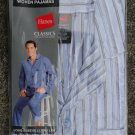 NEW Hanes Men's Pajama Set Long Sleeve Leg Woven stripe S Small Blue White Gray